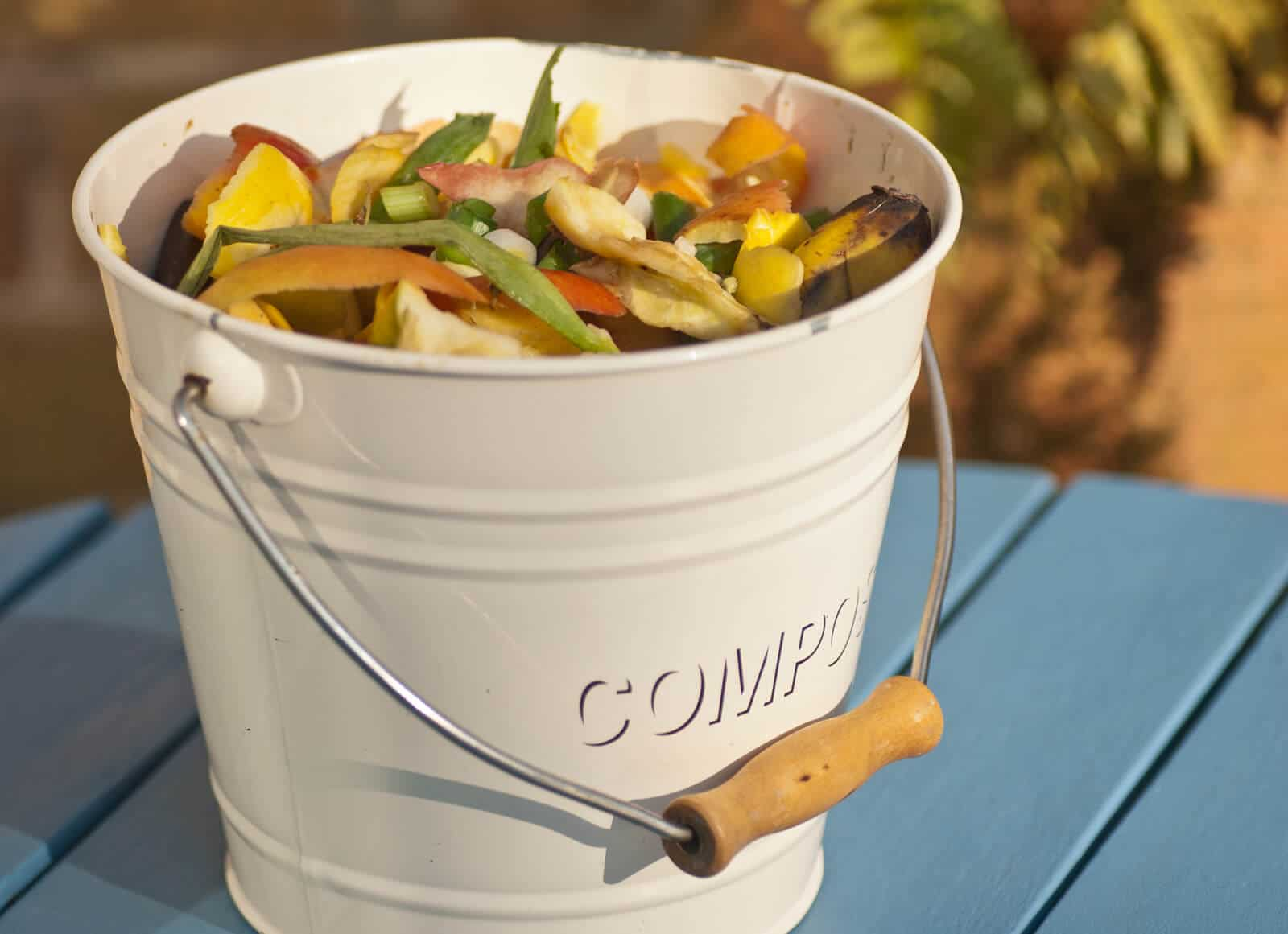 small white pail full of compost scraps