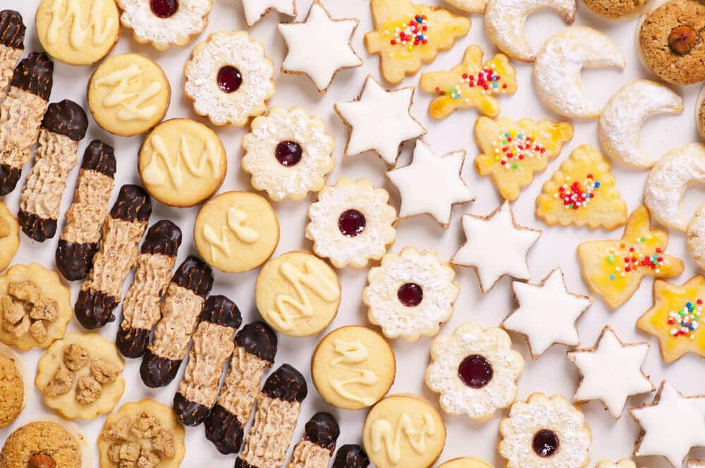 rows of gluten free holiday cookies on a tray