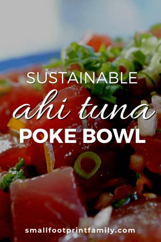 ahi poke recipe in a blue bowl