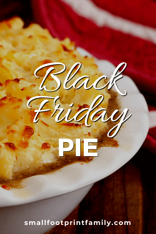 Black Friday Pie in a white dish next to a red napkin