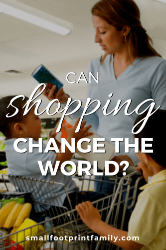 "While we can in many ways ""vote with our dollars,"" we should not think for one minute that the way we shop is going to create the kind of change we really need in the world."