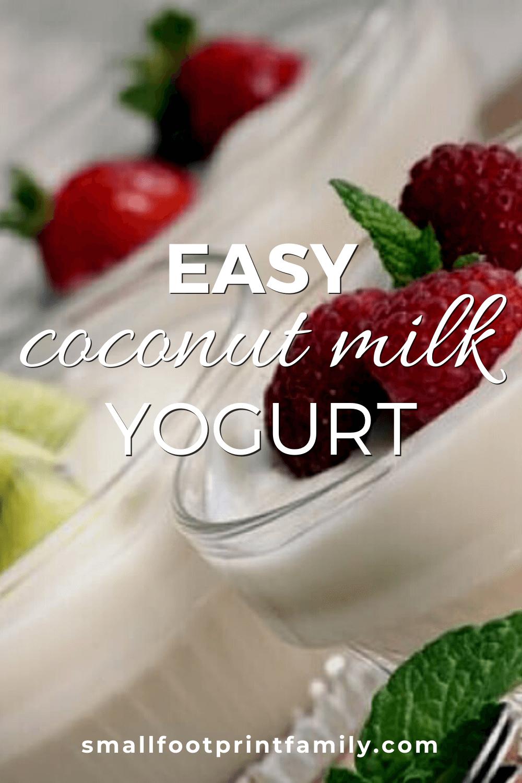 three glass cups of coconut milk yogurt garnished with fruit