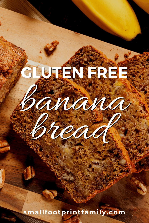 loaf of gluten free banana bread sliced on a cutting board