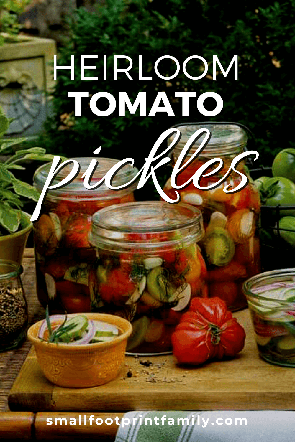With fresh garlic and herbs, these pickles are a tasty way to preserve and enjoy a bounty of heirloom tomatoes.#fermentation #lactofermentation #pickles #vegan #recipe #paleo #salad #garden