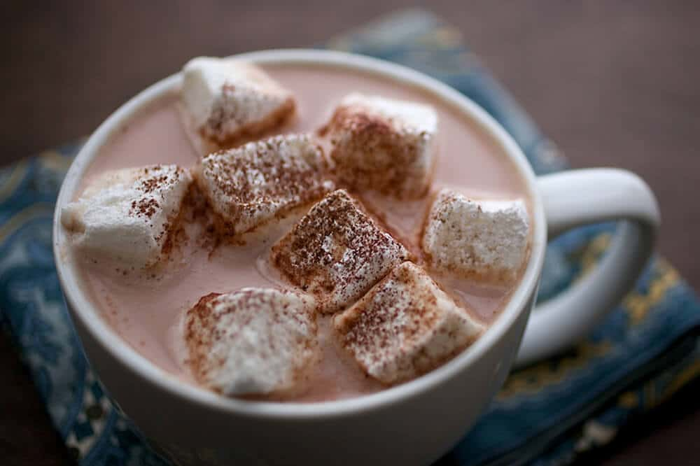 homemade marshmallows in a mug of hot chocolate