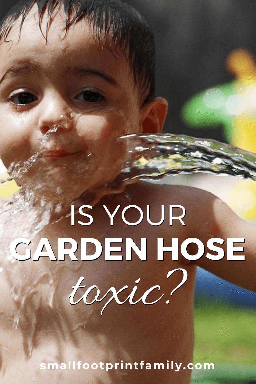 kid drinking from garden hose