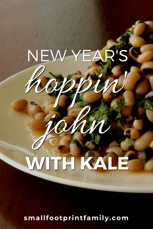 Hoppin' John on a white plate on a wooden table