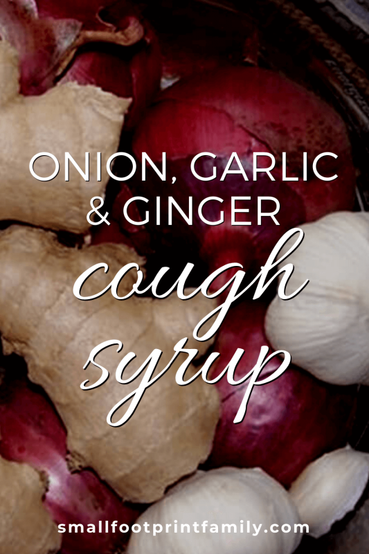 bowl containing garlic, onion and ginger for homemade cough syrup