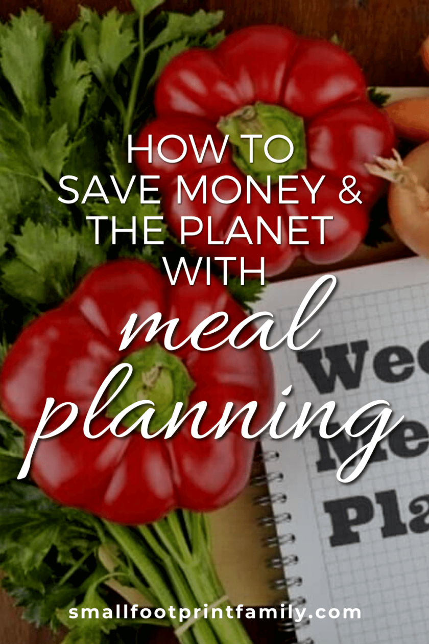 """notebook that says """"Weekly Meal Plan"""" on a table surrounded by peppers, mushrooms, tomatoes and carrots"""