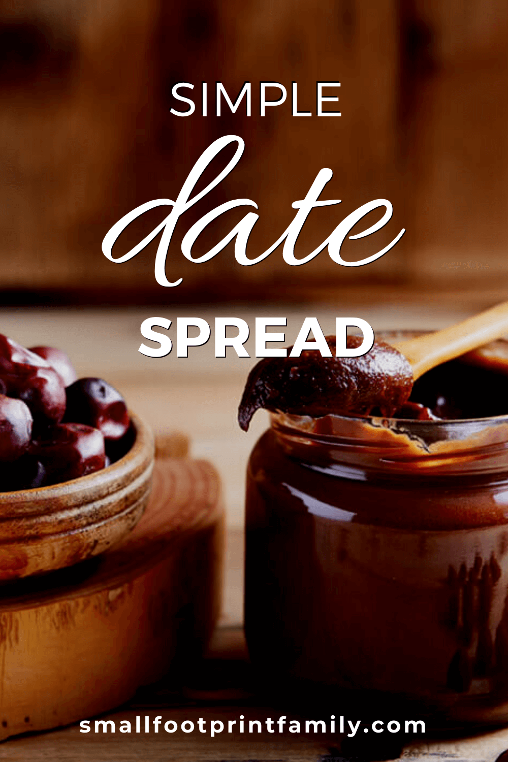 dates in a bowl next to a jar of date puree