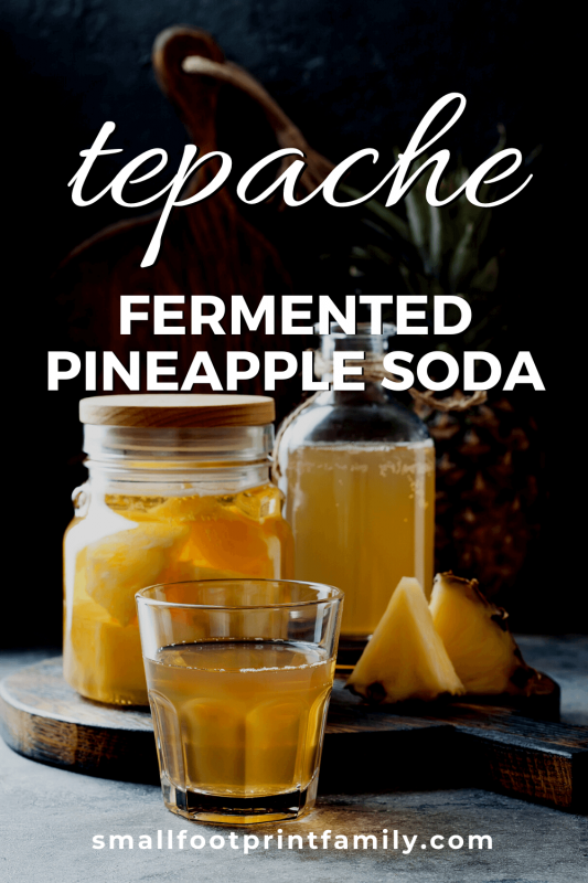 glass of tepache on a cutting board next to a bottles of fermenting pineapple