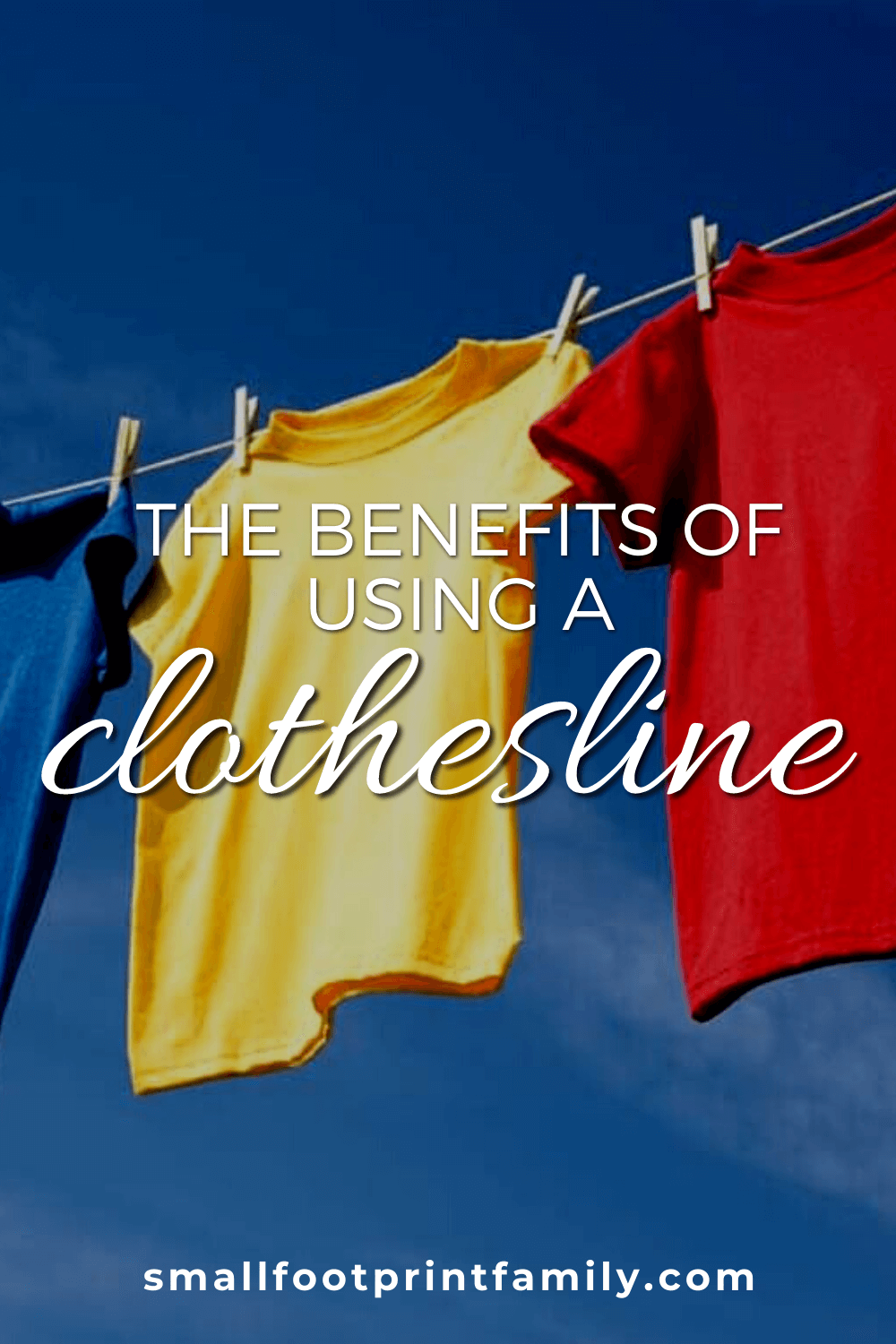 green, blue, yellow and red t-shirts hanging on a clothesline