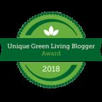 Unique Green Living Blogger 2018 Badge