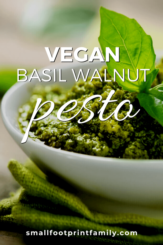 basil walnut pesto in a white dish on a table