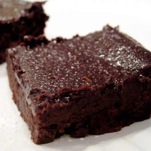 black bean brownies on a white countertop