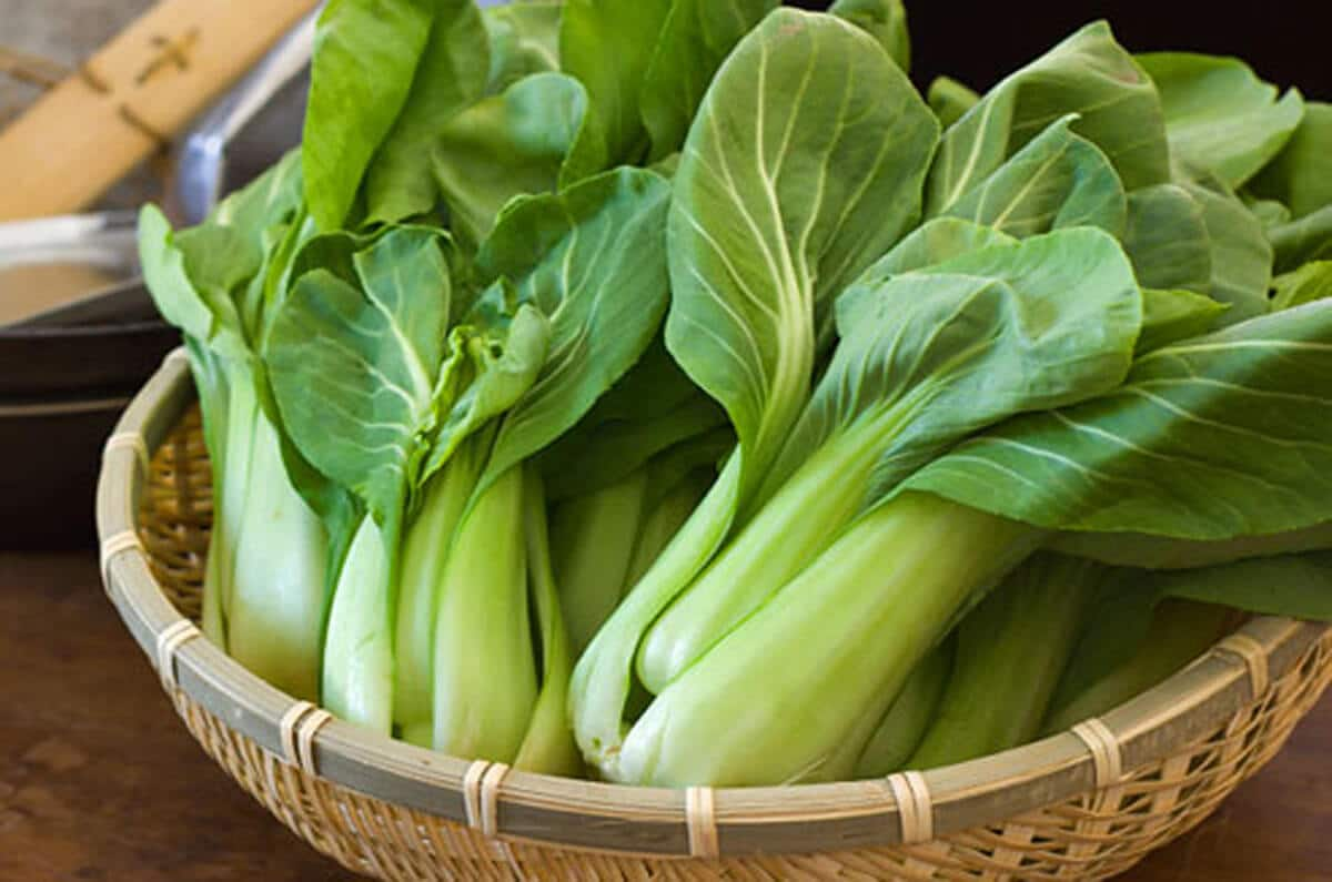 bok choi in a basket