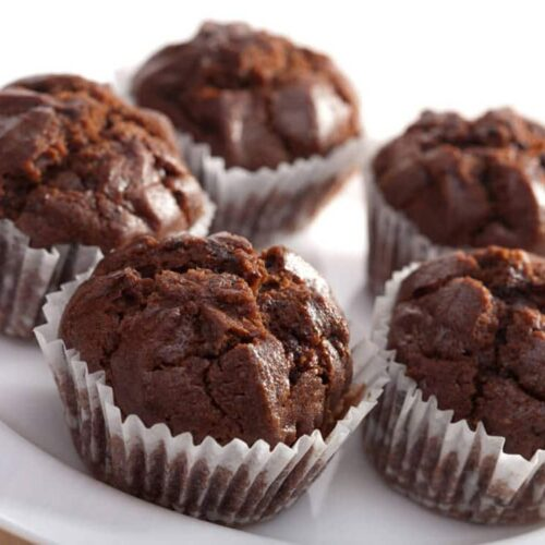 chocolate hazelnut muffins on a white plate
