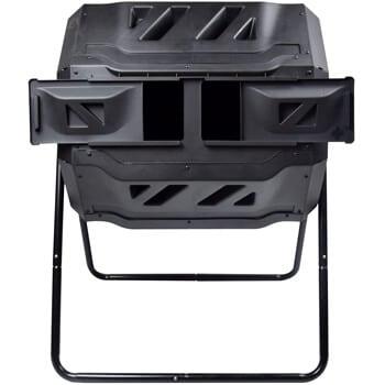 black dual-chamber compost tumbler
