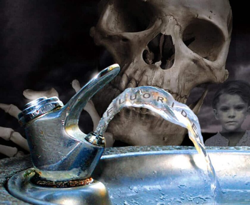 skull drinking from a fluoridated water fountain