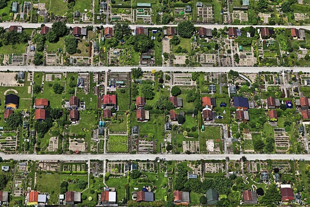 overhead view of self sufficient homesteads