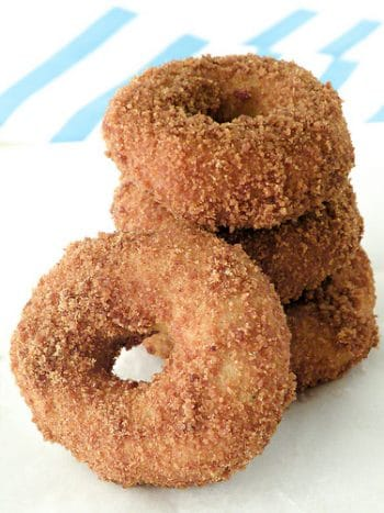 stack of gluten free doughnuts on a plate