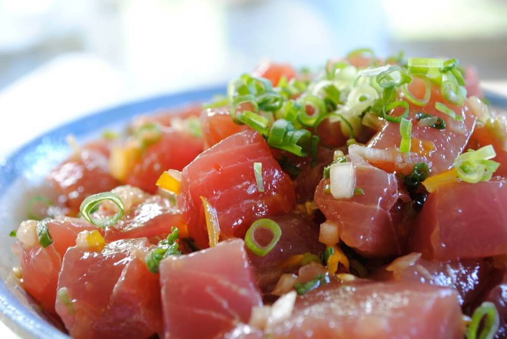 ahi poke recipe in a blue bowl