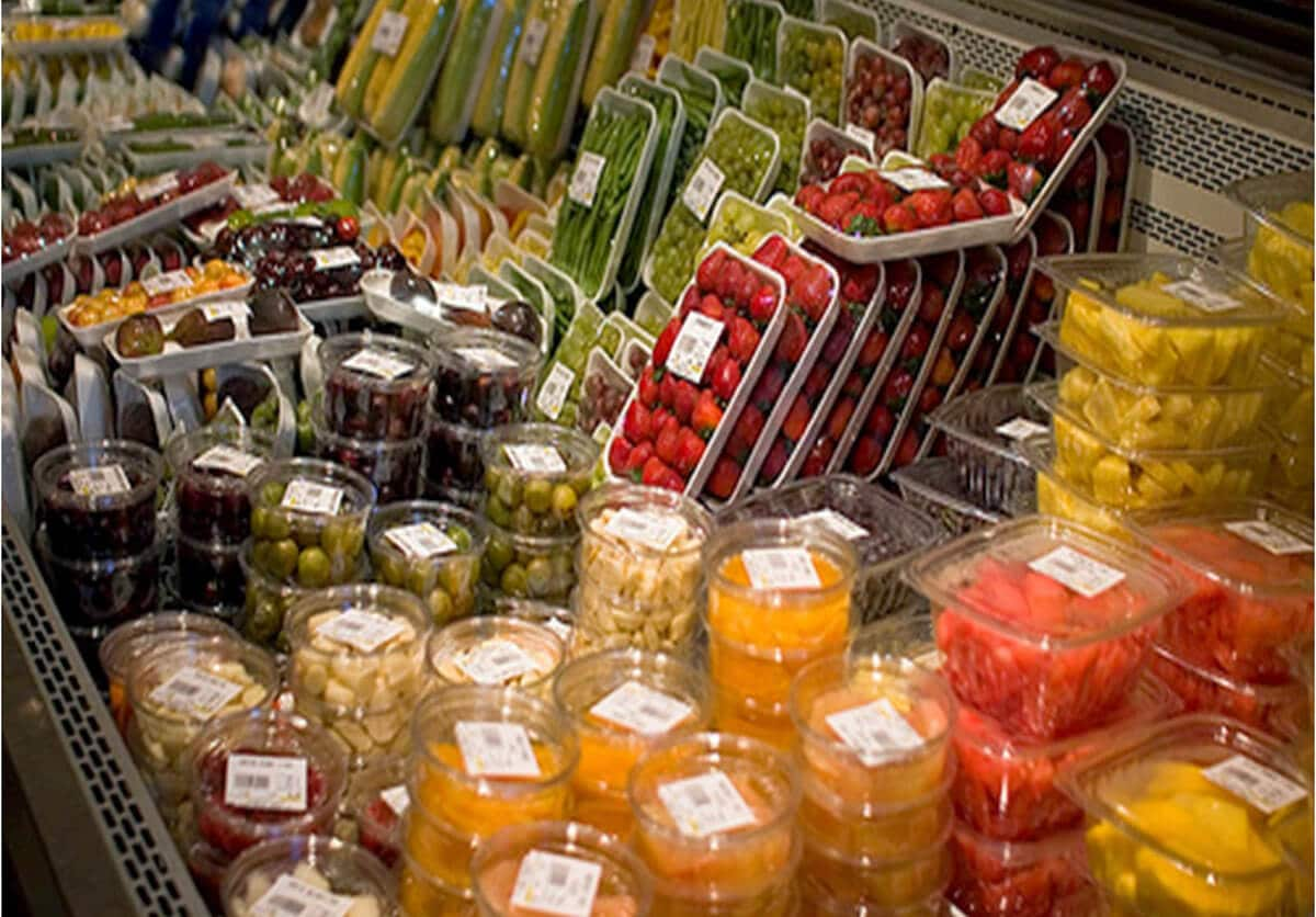 produce in a store in plastic packaging