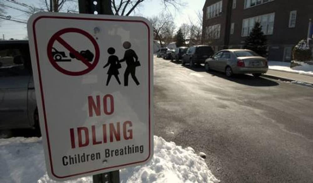 No Idling Children Breathing sign on the street