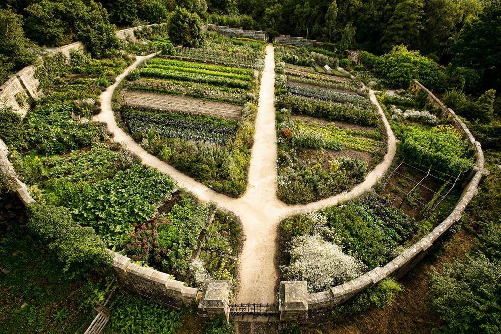 large permaculture garden shaped like a horseshoe